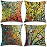 DUSEN Decorative Throw Pillow Covers for Couch, Sofa, or Bed Set of 4 18 x 18 inch Modern Quality Design Cotton Linen Cusion