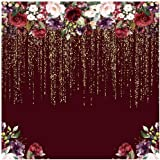 Funnytree 6x6ft Burgundy Red Flowers Backdrop Golden Glitter Floral Birthday Party Photography Background Bachelorette Bridal