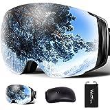 スキーゴーグル 2層磁気レンズ フレームレス メガネ対応 ダブルレンズ 曇り止め 超180°広い視界 球面 Wolfyok スノーゴーグル スノーボードゴーグル 99%UVカット 3層スポンジ 眼鏡対応 ヘルメット対応 レディース メンズ 全天候対応