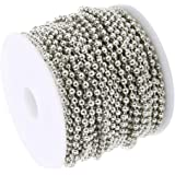 F Fityle 10 Yards 1.5mm Stainless Steel Ball Bead Chains Bulk for DIY Bracelet Necklace Jewelry Craft Making Accessories - Si