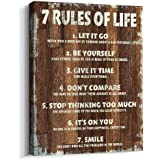 Pigort Motivational Quotes Wall Decor 7 Rules of Life Inspirational Motto Canvas Print Wall Art (12x15 inch, Wood Grain)