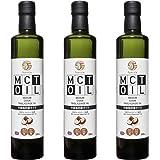 MCTオイル【ジャンボサイズ】大容量 500ml x お得に3本セット 中鎖脂肪酸オイル(原材料ココナッツ由来100%)MCT Oil 500ml x 3 pcs Medium Chain Triglyceride Oil (From Coconut
