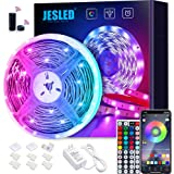 WiFi LED Lights Strip for Bedroom 5m, JESLED 5050 RGB LED Rope Lights with RF Remote, Sync to Music, Compatible with Alexa an