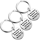 Pack of 3 Best Friend Keyring Gifts Not Sisters by Blood But Sisters by Heart Keychain BFF Friendship Jewelry Women Family Ke