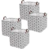 """fuxi 13"""" Square Canvas Toy Storage Bins Basket with Handle Collapsible Toy Organizer for Nursery Storage, Gift Baskets, Kid's"""