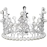 Cabilock Crown Cake Topper Decoration with Rhinestones and Pearls Vintage Style Royal Centerpiece Headband Crown for Party We
