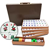 """Mose Cafolo Chinese Mahjong X-Large 144 Numbered Melamine Tiles 1.5"""" Large Tile with Carrying Travel Case Pro Complete Mahjon"""