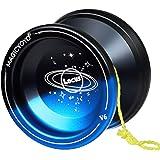 MAGICYOYO Responsive V6 Locus Aluminum YoYo for Kids Beginner Learner Yoyo Bag, Yoyo Glove 5 Spinning Strings (Black+ Blue)