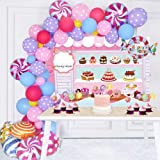 128 Pack Candy Party Decorations Set - Candy Backdrop Lollipop Balloon Cupcake Topper Party Latex Balloon Garland Arch for Ch
