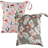Cloth Diaper Wet Dry Bags Set Waterproof Reusable Dual Zipper for Baby Kids Gym Travel Laundry Swimsuit Towel 2pcs E