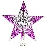 Brcus Christmas Tree Topper 7.8 Inch Hollow Pentagram Star Treetop Decoration (Silver&Purple, 1pcs)
