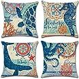 Ocean Theme Square Pillow case U-LOVE Mediterranean Style Decorative Cotton Linen Throw Cushion Cover Sets 18 X 18 Inch Pillo