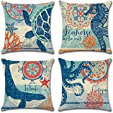 Ocean Theme Square Pillow case U-LOVE Mediterranean Style Decorative Cotton Linen Throw Cushion Cover Sets 18 X 18 Inch Pillo