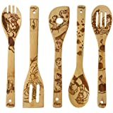 Beauty and the Beast Burned Wooden Spoons Cooking &Serving Utensils Set Bamboo Spoon Slotted Kitchen Utensil Fun Gift Idea Wa