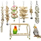 AIDIYAバードトイ 鳥おもちゃ オウムブランコ 鳥グッズ 鳥の遊び場 吊下げタイプ玩具 セキセイインコおもちゃ 噛む玩具 組み合わせ 棚 台 原木塗料不使用 (7点セット)