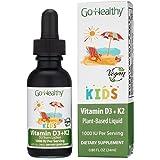 Go Healthy Vitamin D3 + K2 Vegan Liquid Drops for Kids, Toddler, Children - Black Glass 0.80 FL Oz. 30 Servings 1000IU (D3)