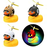 Sumind 4 Pieces LED Rubber Yellow Duck Toy Car Ornaments Yellow Duck Car Dashboard Decorations with Propeller Helmet and Horn
