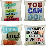 VAKADO Decorative Inspirational Words Quote Throw Pillow Covers Case Colorful Letters Cushion Outdoor Home Decor 18x18 Set of