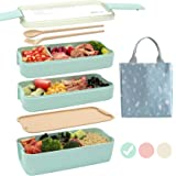 Ozazuco Bento Box Japanese Lunch Box, 3-In-1 Compartment, Wheat Straw, Leak-proof Eco-Friendly Bento Lunch Box Meal Prep Cont
