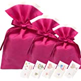 Urban field プレゼント ラッピング 袋 メッセージカード ギフト ラッピング袋 セット 不織布 巾着バッグ グリーティングカード (ピンク)