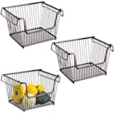 mDesign Modern Stackable Metal Storage Organizer Bin Basket with Handles, Open Front for Kitchen Cabinets, Pantry, Closets, B