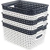 Qqbine Plastic Woven Storage Baskets Kitchen Organizer, White and Navy Blue, 6 Packs