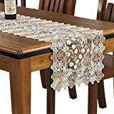 Lace Floral Embroidery Table Runner, Polyester Rectangle Transparent Dresser Scarf for Home Dining Room Tabletop Decoration,