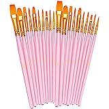 BOSOBO Paint Brushes Set, 2 Pack 20 Pcs Round Pointed Tip Paintbrushes Nylon Hair Artist Acrylic Paint Brushes for Acrylic Oi