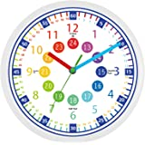 Telling Time Teaching Clock - 12 Inch Silent Wall Clock,Great Visual Learning Clock Time Resource,Perfect Educational Tool fo
