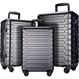 SHOWKOO 3 Piece Luggage Sets Expandable ABS Hardshell Hardside Lightweight Durable Spinner Wheels Suitcase with TSA Lock (Gra
