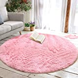 junovo Round Fluffy Soft Area Rugs for Kids Girls Room Princess Castle Plush Shaggy Carpet Cute Circle Nursery Rug for Kids B