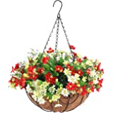 Fall Artificial Hanging Flowers with Basket, Fake Daisy Flowers in 12 inch Coconut Lining Hanging Baskets for The Decoration
