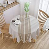 Vonabem Table Cloth Tassel Cotton Linen Table Cover for Kitchen Dinning Wrinkle Free Table Cloths (Coffee, 60in Round)