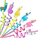 24 LLama Straws Party Favors for LLama Birthday Party Supplies with 2 Cleaning Brush
