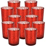 (12, Speckled Red) - Just Artefacts Mercury Glass Votive Candle Holder 7cm H (12, Speckled Red) - Mercury Glass Votive Candle