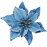 Winlyn 24 Set Christmas Blue Glitter Poinsettia Flowers Picks Christmas Tree Ornaments for Winter Blue Teal Christmas Tree Wr