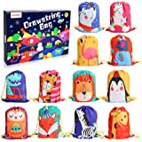 12 PCS Kids Party Favor Bags for Birthday Party Gift Package,Drawstring Goody Bag with Cartoon Animal Designed to Baby Boys a