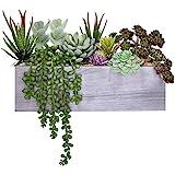 Supla Artificial Pre-Made Succulent Wood Planter Arrangement 10 Pcs Assorted Fake Succulent Plants in Rectangular Wooden Plan