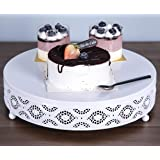 Cake Stand Round Metal Cake Stands Dessert Display Cupcake Stands, White(038-White-10in)