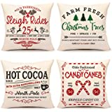 4TH Emotion Farmhouse Christmas Pillow Covers 18x18 Set of 4 Winter Holiday Decorations Xmas Rustic Throw Cushion Case for So