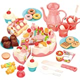 REMOKING Pretend Play Food for Kids,DIY 82PCS Decorating and Cutting Birthday Party Cake, Tea Set,Candle,Fruits,Biscuits,Dess