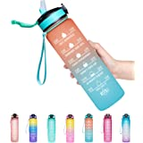 Venture Pal 32oz/22oz Motivational Fitness Sports Water Bottle with Time Marker & Straw, Large Wide Mouth Leakproof Durable B