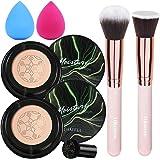 2 PCS Air Cushion CC Cream, BB Cream Mushroom Head Foundation, Foundation Brush Powder Brush,Moisturizing Concealer, Bright M