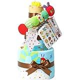 はらぺこあおむし おむつケーキ 出産祝い 名入れ刺繍 3段 Sassy ビタット Bitatto 身長計付き バスタオル ブルー 男の子 オムツケーキ ERIC CARLE エリックカール goonテープタイプLサイズ