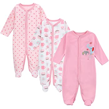 e541308741c08 エルフ ベビー(Fairy Baby)新生児服 足つきカバーオールロンパース 長袖 3枚セット 出産祝い 女の子 0-3M セット4