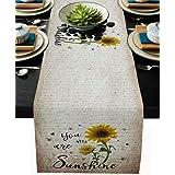 Black You Are My Sunshine Sunflower Table Runner-Cotton Linen-Long 13x36 Inch Dresser Scarves, Retro Tablerunner for Kitchen