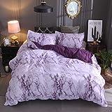 Choicehot Marble Duvet Cover Set, Simple Elegant Bedding Set Ultra Soft Colorful Microfiber Comforter Cover for Bed, 1 Duvet