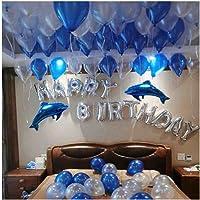 gresatek 生日庆典 Happy 装饰生日快乐生日气球铝膜气球气球泵带双面胶蝴蝶结花瓣 , 蓝