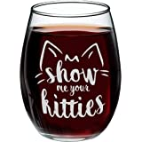 YouFangworkshop Cute Funny Cat Stemless Wine Glass - Show Me Your Kitties 15 oz Novelty Glass Tumbler for Girlfriend, Wife, C