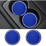 SUNACCL Bling Car Coasters PVC Travel Auto Cup Holder Insert Coaster Anti Slip Crystal Vehicle Interior Accessories Cup Mats